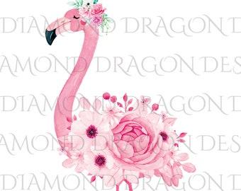 Watercolor Floral Flamingo, Flower Flamingo, Watercolor Flamingo, Waterslide, Digital Image, High Res, Clip Art, PNG JPG File