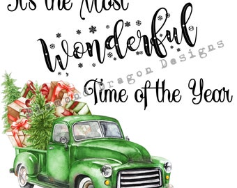 Vintage Christmas Truck, Christmas Tree, It's the most wonderful time, Green Truck, Digital Image Download, Waterslide, Sublimation, PNG
