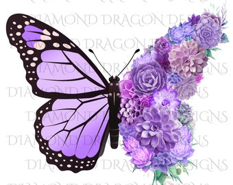 Succulent Butterfly, Monarch Butterfly, Watercolor Butterfly, Butterfly with Succulents, Digital Image Download, ClipArt, PNG, JPG,File
