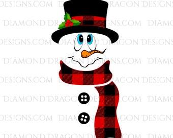 Christmas, Cute Snowman Face, Plaid Scarf, Snowman Tumbler Image - Laser Printed Clear Waterslide, Tumbler Image Waterslide Decal, 3'' x 6''