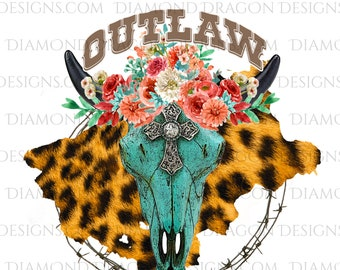 Outlaw, Western, Cow Skull, Floral, Leopard Print, Barbed Wire, Bull Skull, Waterslide, Digital Image Download, PNG, Sublimation,File