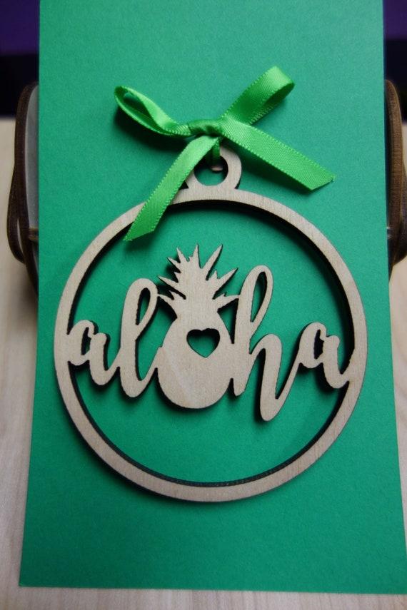 Laser Cut KAUAI Design Wooden Ornament Keepsake Gift Tag Made in Hawaii