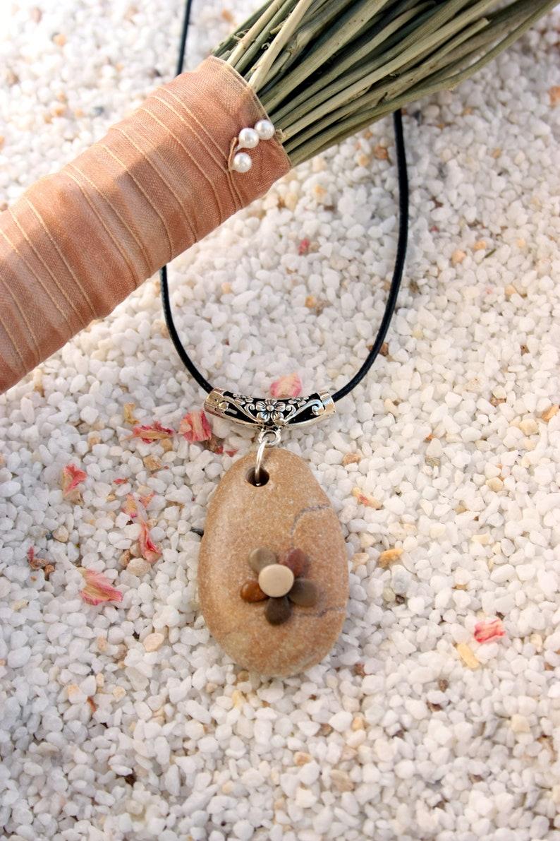 Beach-stone necklace beach-stone jewelry beach-stone flower image 0