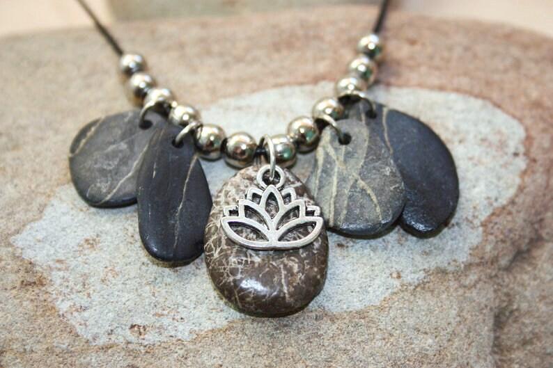 Lotus flower necklace Beach stones Mediterranean pendant image 0
