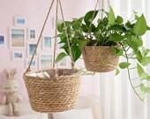 Garden Plant Storage Basket Jute Rope Hanging Planter Woven Indoor Outdoor Flower Holder Macrame Plant Hangers Home Decor