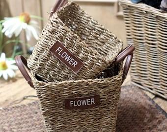 2-Piece Hand-Woven Flower Basket Floral Hemp Rope and Straw Basket Home Storage Basket Storage Basket