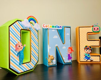 Cocomelon 3D Letters, Cocomelon First Birthday, Cocomelon Theme, Free standing Cocomelon Letter, Cocomelon ONE, Cocomelon Party Decoration