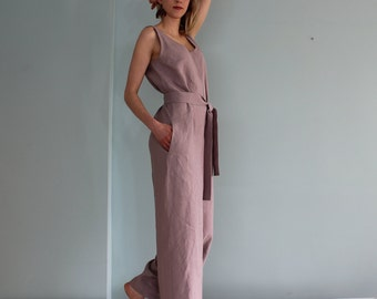 0f77d445dac5 Women linen jumpsuit  Casual linen jumpsuits  Wide legged pants  Jumpsuit  for women