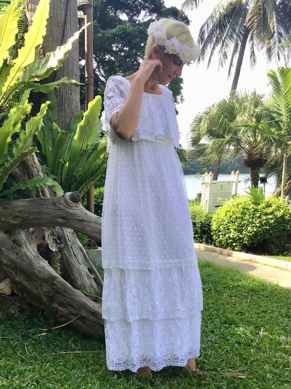 Romantic ruffled vintage boho wedding dress - image 1