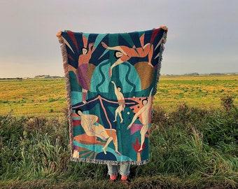 Dancing Queen - Woven Tapestry by Molly Hawkins. Tapestry, Gobelin, Throw Blanket, Woven Wall Hanging, 1980's, Memphis Art, Matisse, Dancing