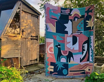 Horse & Friends - Woven Tapestry by Molly Hawkins. Tapestry / Gobelin / Throw Blanket / Woven Wall Hanging / Bed Throw / Decor Boho Scandi