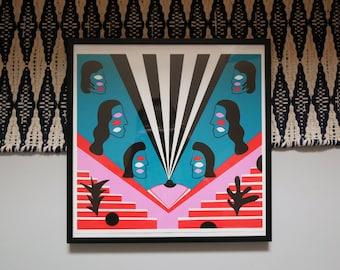 Stealing Sheep - Fine Art Print by Molly Hawkins. Giclée Illustration Art. 1980s, Memphis Art, Matisse, Abstract, Minimalist, Women, Boobs