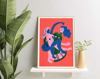 Lost Without You - Giclee Print from a Risograph by artist Molly Hawkins. Riso Print, Feminist, LGBTQ+ Queer Art Contemporary Art, Woman