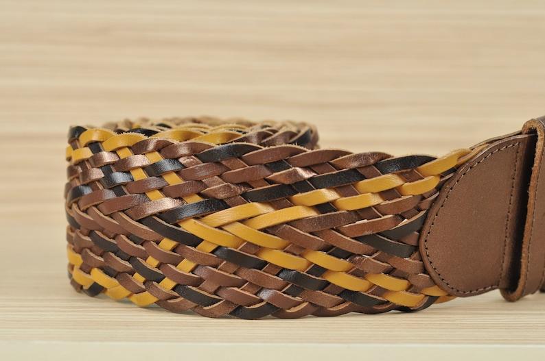 Braided Brown Leather Belt Vintage Belt Soft Leather Wide Thick Belt Women Wide Belt Wide Leather Belt Brown Yellow Bronze Color Belt