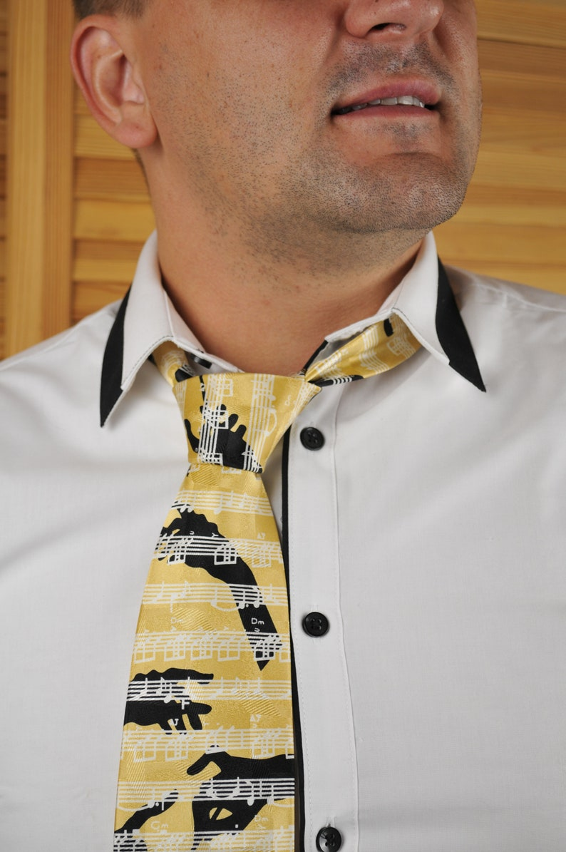 Musical Pattern Tie from Double Two Pure Silk Tie Yellow Black White Color Tie Orchestra Conductor Hands Baton and Musical notes Pattern