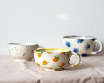 Handpainted floral ceramic cup, Сottagecore mug, Ceramic mug, Unique coffee mug, Tea cup, Ceramic tea cup, Stoneware mug, Coffee Lovers Gift
