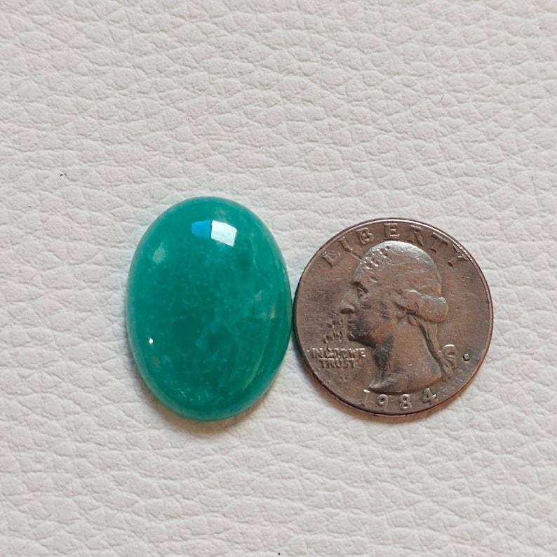 Beautiful Amazonite Cabochon Gemstone Natural High Quality Green Amazonite Healing Palmstone Gemstone Oval Shape Size 21x19x6mm 29Cts