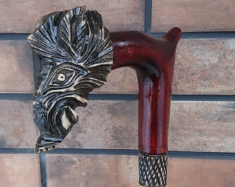 Cane Wild Boar Walking stick handmade Wood Carving Strong Stick Exquisite design