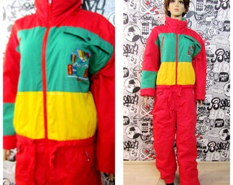 afae2228a248 One Piece Ski Suit Clothing Vintage 90s ski suit red yellow ski suit  Vintage retro ski suit Skiing Suit Winter Clothing Warm suit snow XL