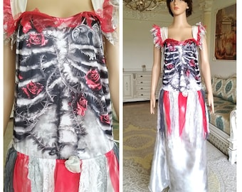 size LXL Forest Zombie Dress with ruffles and grommets