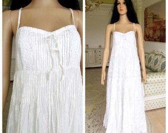 920a1cb19665 minimalist wedding dress white sundress white dress boho dress white long  dress maxi dress summer dress eyelet dress vintage beach dress L