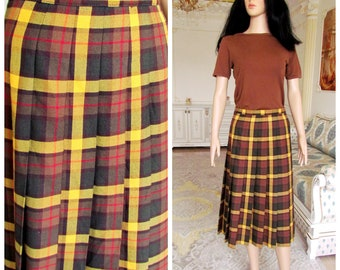 c77e3abec Yellow plaid skirt 90s Pleated Skirt womens skirt Vintage halloween costume  halloween Skirt Boho Skirt Midi Skirt 10
