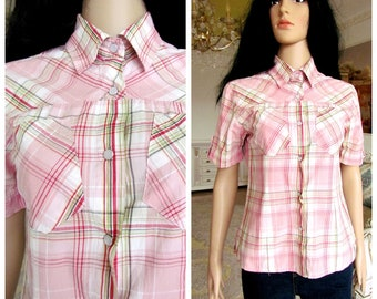 cc51cd14a1efbf Western Shirt Cowboy Shirt Hippie Shirt Grunge Shirt Frauen rosa karierten  Shirt Frauen Langarm Shirt Vintage Frauen Baumwolle Shirt Größe M