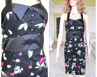 340f9f4705 cherry print clothing cherry dress vintage floral dress 80s prom dress  black cherry Dress patty Dress midi Dress Pencil Dress 8