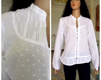 afb51f0e858e94 70s womens blouse Edwardian Clothing Victorian Blouse Vintage Victorian  style Edwardian shirt Edwardian Blouse white Blouse Victorian shirtM