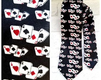 Skinny Tie Poker Playing Card Game Las Vegas Dice Gambler Necktie Spade Diamond