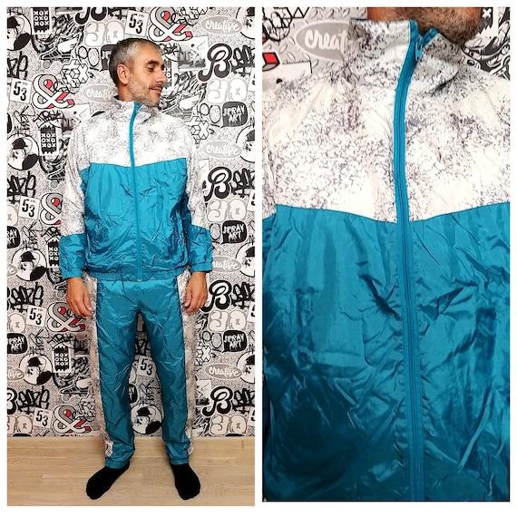 blue track suit M-L Mens track suit 90s colorful s