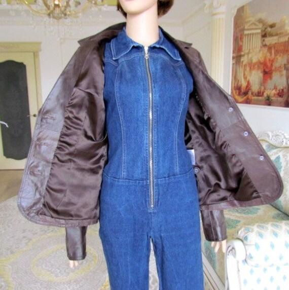 womens Leather blazer 70s retro blazer womens Lea… - image 9