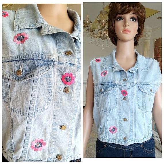 embroidered jeans Vest womens denim Vest Vintage B
