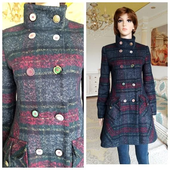 Double Breasted coat  Vintage purple plaid coat wo
