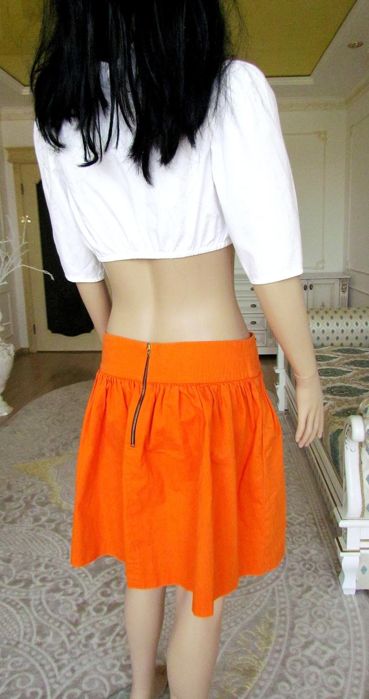 orange skirt cotton Circle skirt Rockabilly skirt 90s orange skater skirt for women skirt Vintage retro skirt Mod Skirt Circle skirt M