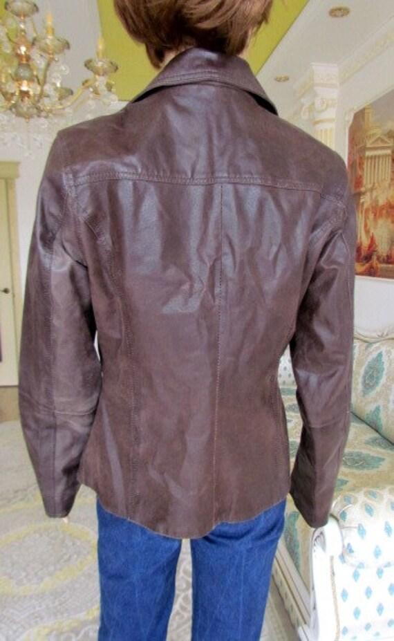 womens Leather blazer 70s retro blazer womens Lea… - image 7