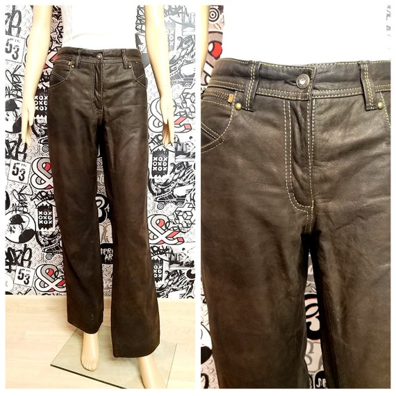 Leather Clothing womens Leather pants M Brown Leat