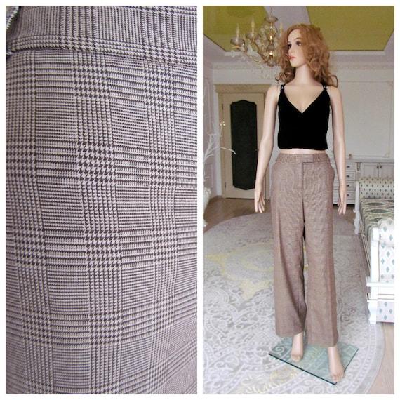 boho  pants Chino pants 80s brown Plaid pants sui… - image 1