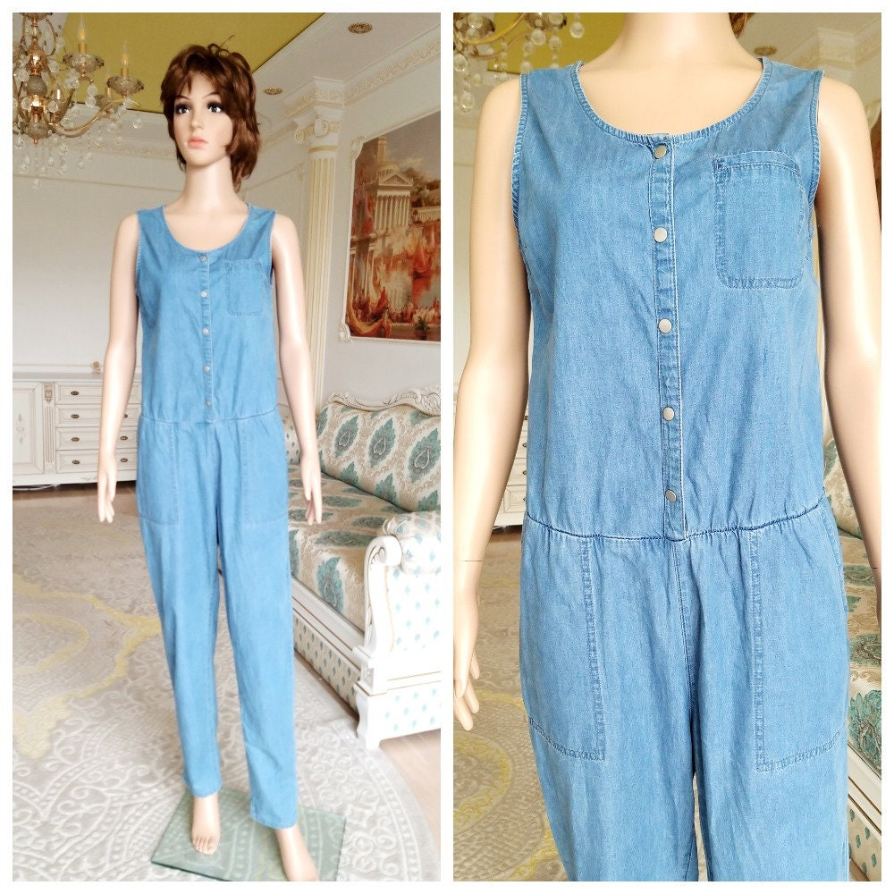 Vintage Overalls & Jumpsuits Denim Overall M Vintage Womens Overall Pants Jumpsuit Pants Jean Overalls Retro Coverall Grunge Jeans Coveralls $16.00 AT vintagedancer.com