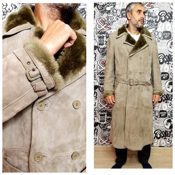 mens sheepskin coat long coat fur coat XL Overcoat