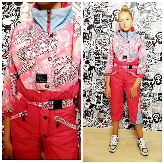 girl ski suit 90s ski suit pink ski suit Kids Ski