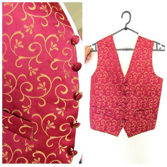 burgundy vest S mens boho vest mens vest wedding m