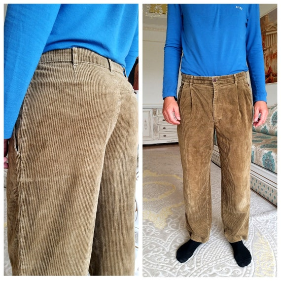 Mens Pants Khaki  Mens Corduroy pants XL Pleated C