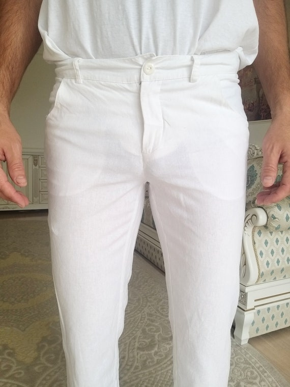 Mens White linen Pants Mens linen trousers Mens l… - image 2
