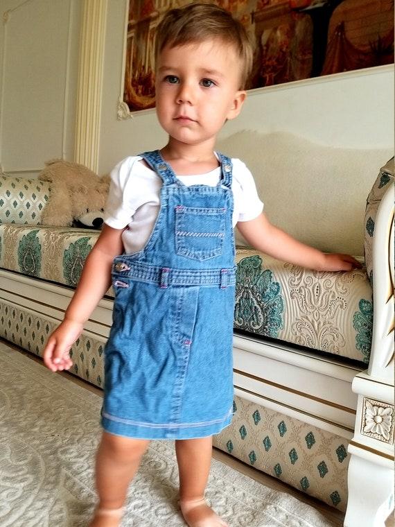 12-18 months denim girls dress embroidered dress … - image 2