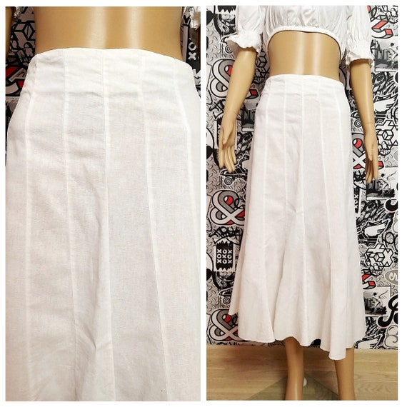 White Linen skirt womens skirt XL White skirt whit