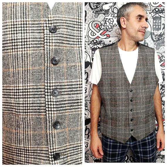 mens Vest Wool Vest Plaid Vest mens Tweed Vest Vin