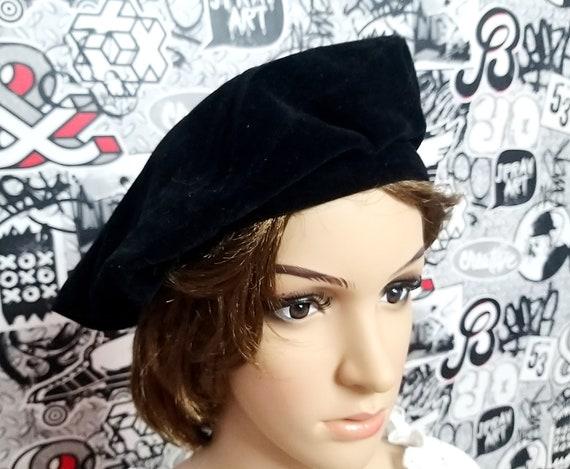 Black beret Headwear retro hat winter hat Black ve