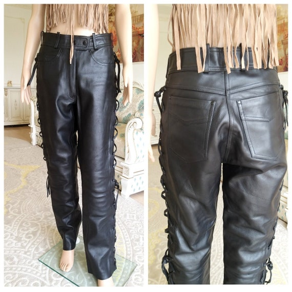 cowgirl pants Western pants womens Leather pants M