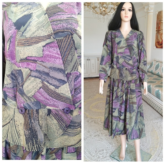 Womens suit vintage Abstract print suit Abstract s
